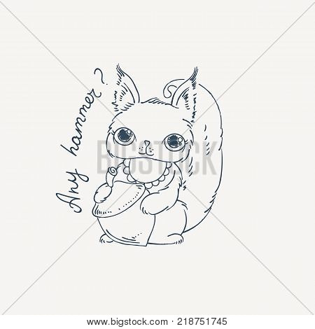 Cute carton squirrel with nut. Vector illustration for kids and children. Coloring page.