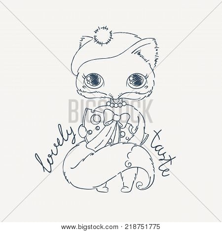 Cute lovely fox with piece of cheese. Cartoon animal with a gift. Vector illustration. Coloring page.