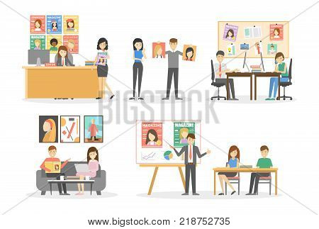 Editorial office interior set. Director with designers and journalists on white backgound.