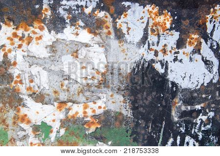 Old rust eroded painted metal iron texture background. Close up