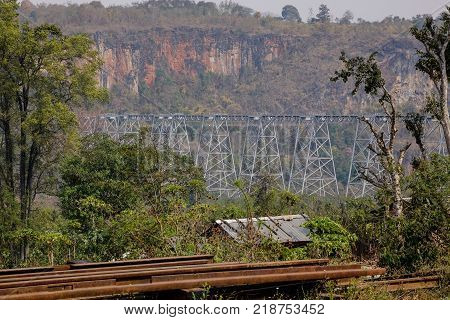 View of Goteik viaduct with mountains at sunny day in Nawnghkio western Shan State Myanmar.