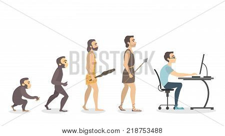 Evolution of programmer. From monkey to computer man.