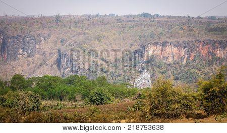 Mountain scenery with Goteik viaduct in Nawnghkio western Shan State Myanmar.