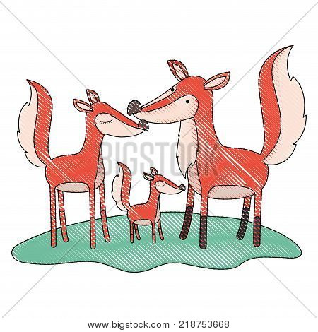 cartoon fox couple and cub over grass in colored crayon silhouette vector illustration