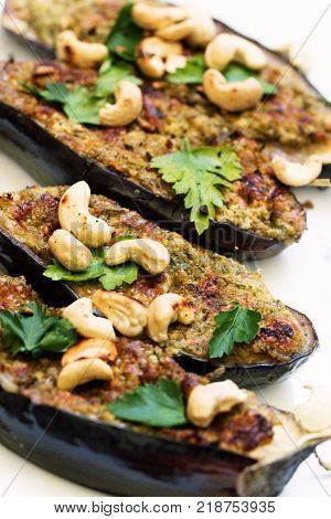 Grilled spisy eggplants. grilled eggplants with garlic yogurt sauce and walnuts