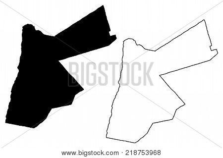 Jordan map vector illustration , scribble sketch The Hashemite Kingdom of Jordan