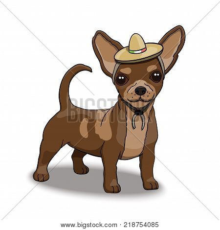 Chihuahua Smiling Cartoon Character Illustration Wearing Mexican Sombrero