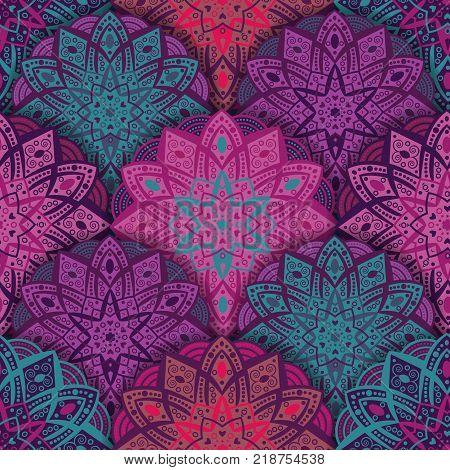 Indian, Islamic, Arabic, Oriental, Moroccon, Turkish, Chinese motif. Seamless floral ornament Oriental print-vector illustration. Mandala vivid texture original design