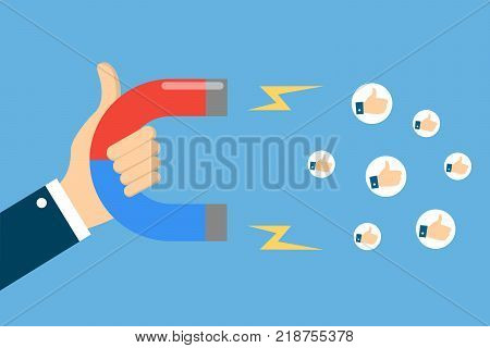 Hand with magnet attracting likes for social media content.