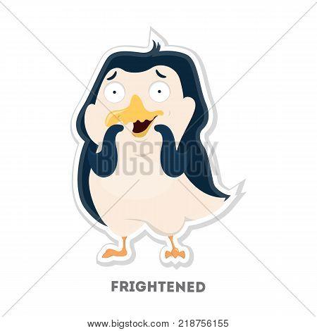 Isolated frightened cartoon penguin on white background.