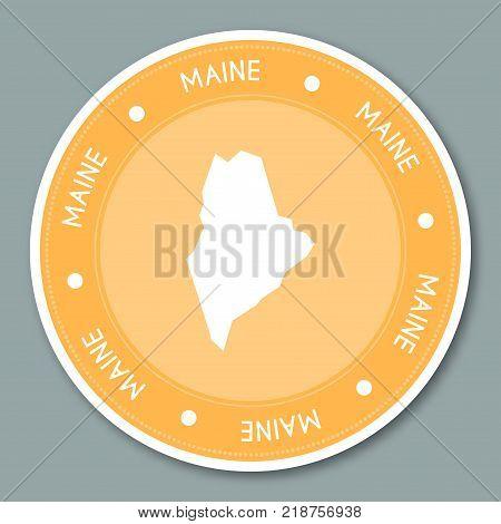 Maine Label Flat Sticker Design. Patriotic Us State Map Round Lable. Round Badge Vector Illustration