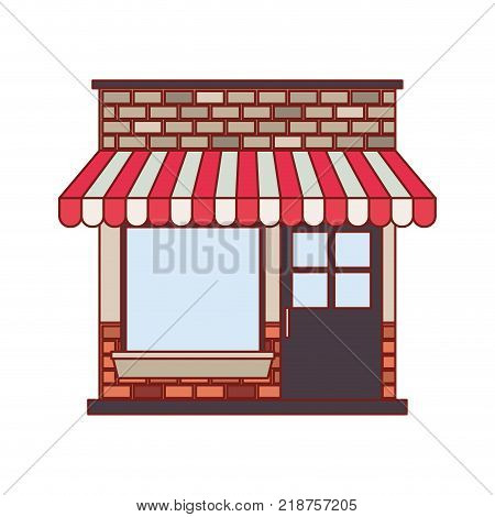 store facade with sunshade in colorful silhouette and thin red contour line vector illustration