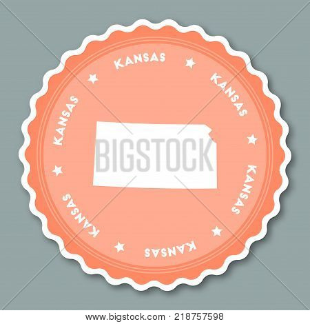 Kansas Sticker Flat Design. Round Flat Style Badges Of Trendy Colors With The State Map And Name. Us