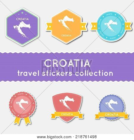 France Badge Flat Design. Round Flat Style Sticker Of Trendy Colors With Country Map And Name. Count
