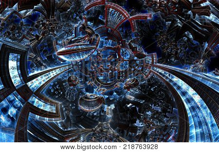 3d ultraviolet fractal of future city. Development of civilization in galaxy spiral galaxy. High-tech settlement on space cosmos orbit. Energy of metal concept. Disorderly pattern of metal particles.