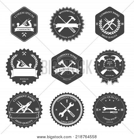 Vintage carpentry tools, labels and design elements. Vector illustration