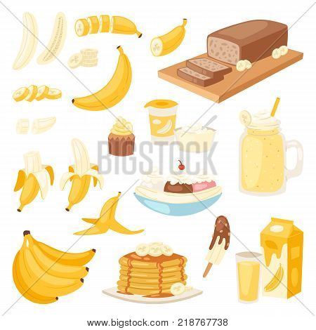 Banana set vector bananas products bread pancake or banana split with yellow cocktail and fruit in chocolate illustration bananapeel or skin isolated on white background.