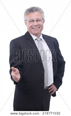 Portrait of a successful man giving a hand on a white background