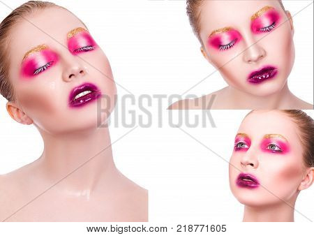 Collage of photos of a girl with beautiful creative professional make-up on a white background. Collage of 3 portraits