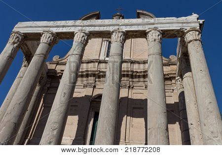 Temple of Antoninus and Faustina in Roman Forum, Rome, Italy
