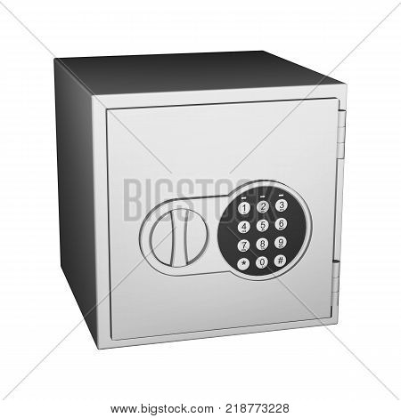 Safe with a closed door and a digital combination lock with handle isolated on white background.