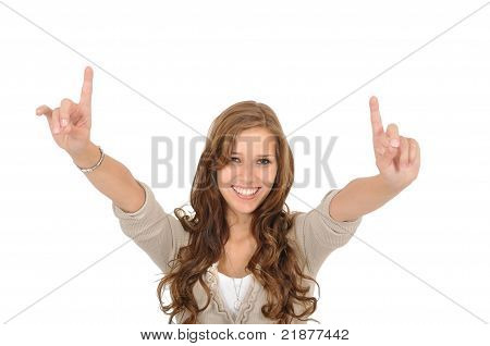 Young Woman Pulls Finger Up