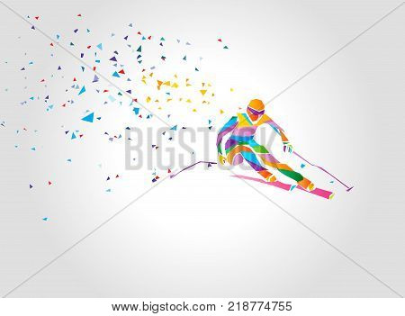 Ski downhill. Creative silhouette of the skier. Giant Slalom Ski Racer. Color vector polygonal geometric illustration