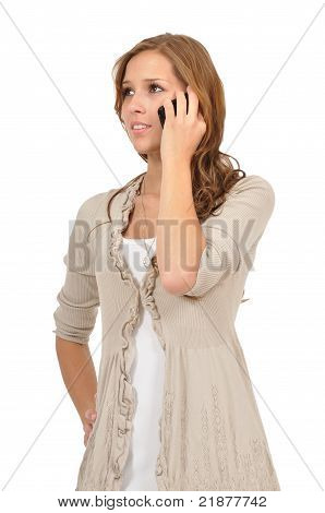 Thoughtful Young Woman Telephoned