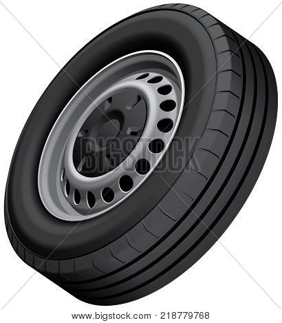 High quality vector illustration of typical light vans wheel with pressed disc isolated on white background. File contains gradients blends and transparency. No strokes.