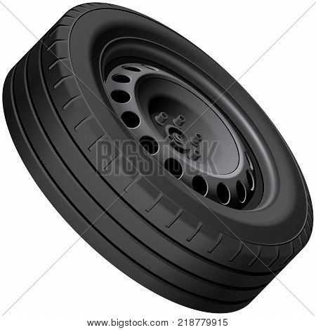 High quality vector illustration of typical automobiles wheel with pressed disc isolated on white background. File contains gradients blends and transparency. No strokes.