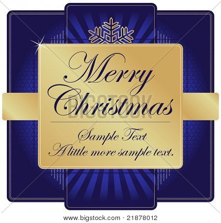 Ornate Blue and Gold Christmas Label with room for your own text. Please see my color variations on this illustration.