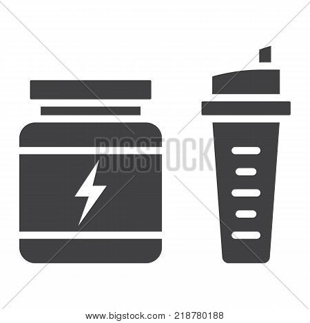 Whey protein with sports shaker glyph icon, fitness and sport, nutrition sign vector graphics, a solid pattern on a white background, eps 10.