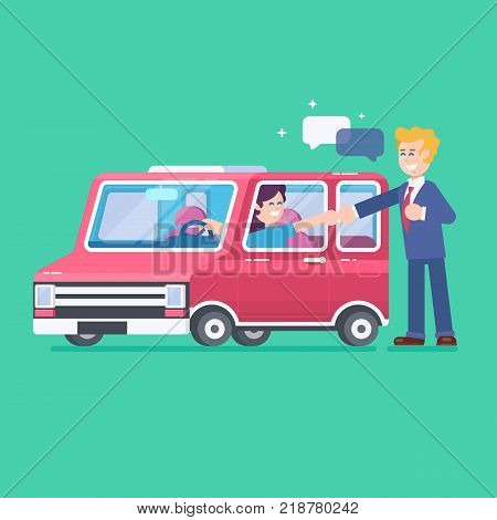 Car on a tray.Buy or rental car concept with flat icons. Car loan flat vector illustration