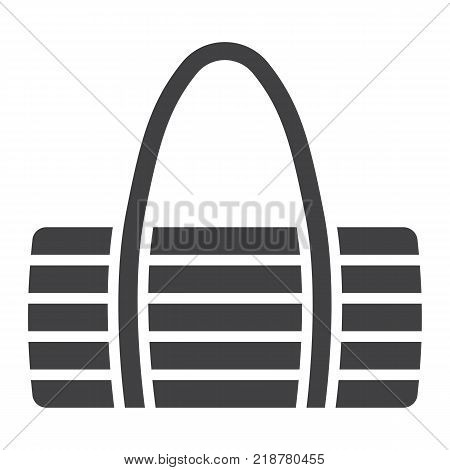 Fitness bag glyph icon, fitness and sport, sport bag sign vector graphics, a solid pattern on a white background, eps 10.