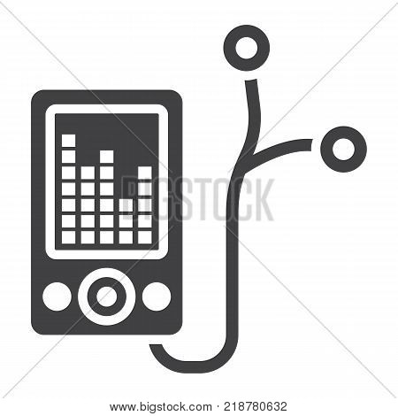 Mp player device glyph icon, fitness and audio, music sign vector graphics, a solid pattern on a white background, eps 10.