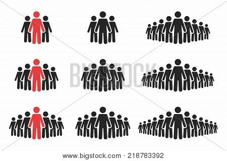 People icon set. Crowd of people in black and red colors. Group of people in pictogram shape. Elements for infographic leadership concept. Vector