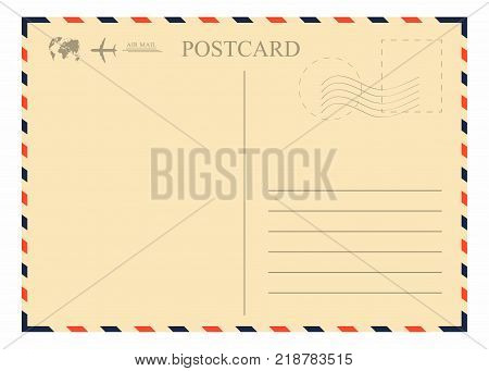 Vintage postcard template. Retro airmail envelope with stamp airplane and globe. Vector