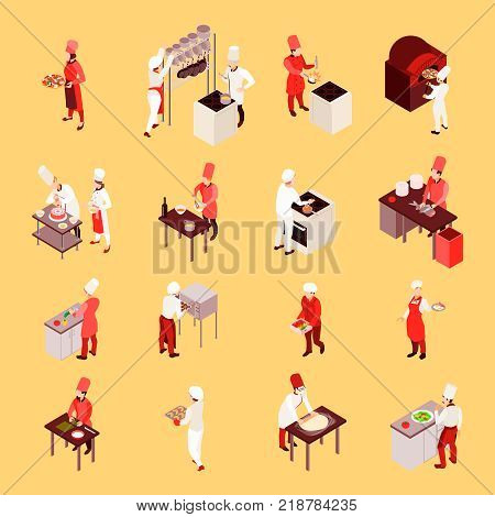 Professional cooking isometric icons with staff during work with culinary tools on beige background isolated vector illustration