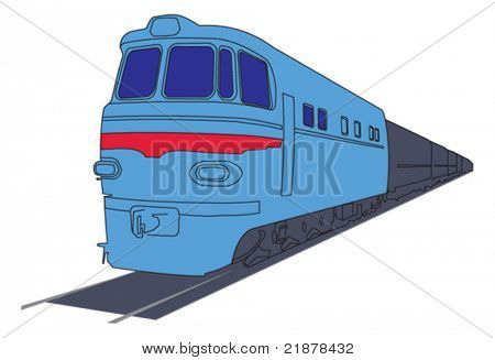 vector diesel locomotive or train on white background