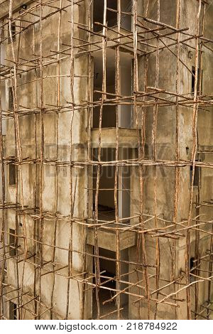 Construction site in Ethiopia with typical african scaffolding