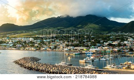 Panorama of Basseterre, St Kitts, at the golden hour.