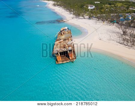 Aerial view of shipwreck on the beach in Grand Turk, Turks and Caicos.