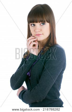 Young beautiful fashionable deplorable model over white background
