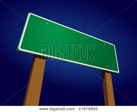 Blank Green Road Sign Illustration Against Blue Gradation Background.
