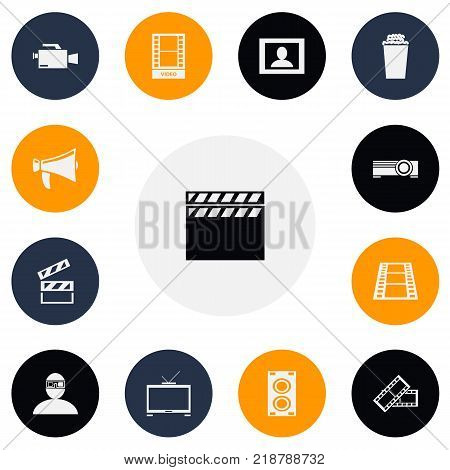 Set of 13 editable filming icons. Includes symbols such as action, filmstrip, man in 3d glasses and more. Can be used for web, mobile, UI and infographic design.
