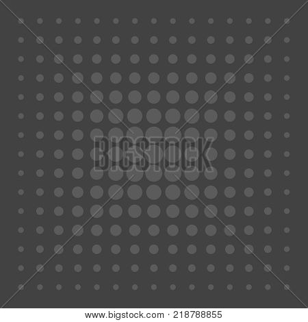 Grey comic vector pattern dots on black background
