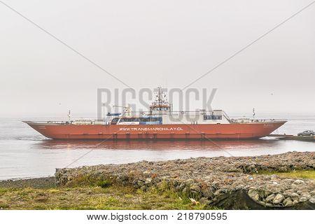 LOS LAGOS, CHILE, APRIL - 2017 - Big ferry parked at shore of lake at Los Lagos distric Patagonia Chile