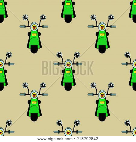 Cute Kids Motorcycle Pattern For Girls And Boys. Colorful Motorcycle Pattern, Scooter On The Abstrac