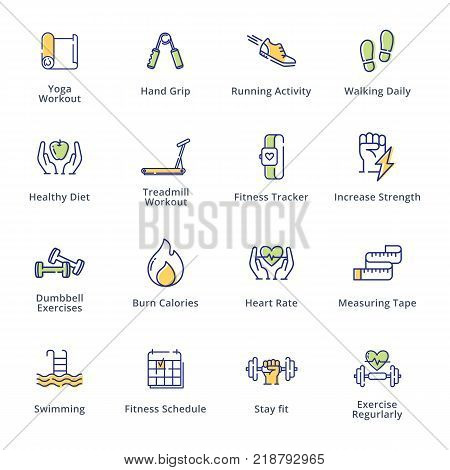Fitness activities icons, dieting, fitness and nutrition.
