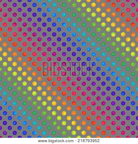 Rainbow Seamless Pattern of Colorful Circles on Grey Backdrop. Continuous Background in Polka Dots for Cloth Fabric Textile Tissue Pack Paper Wrapping Paper.